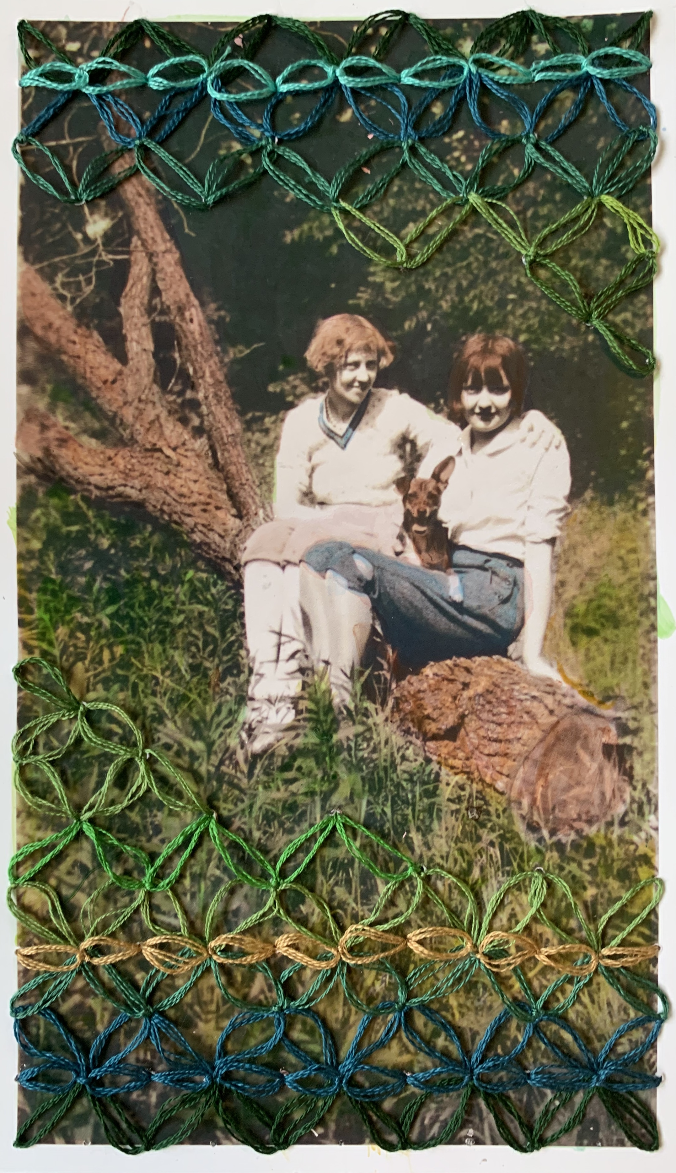 """""""Maggie and Molly and May,"""" Ink and Hand-embroidery on found photograph"""