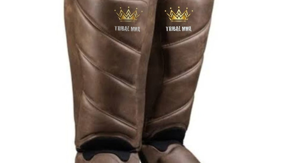 Tribal leather shin guards. In sizes XL & Large