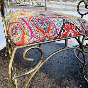 Wrought Iron Chair Refinish with Teal Nesting Tables