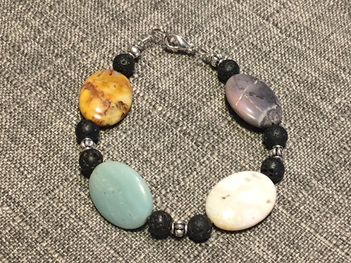 Tumbled Jasper and Chalcedony with Lava Beads