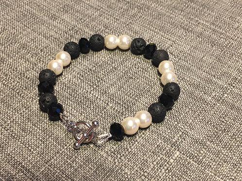 Lava Beads, Glass Pearls and Swarovski Crystal