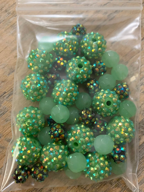 Necklace Kit- Blingy Green Sparkly Green Mix
