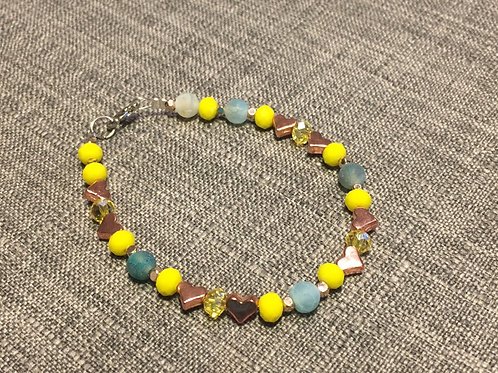 Hearts mixed with Glass Beads & Swarovski Crystals