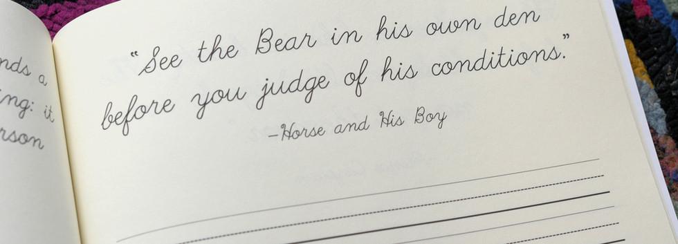 Narnia Cursive quote