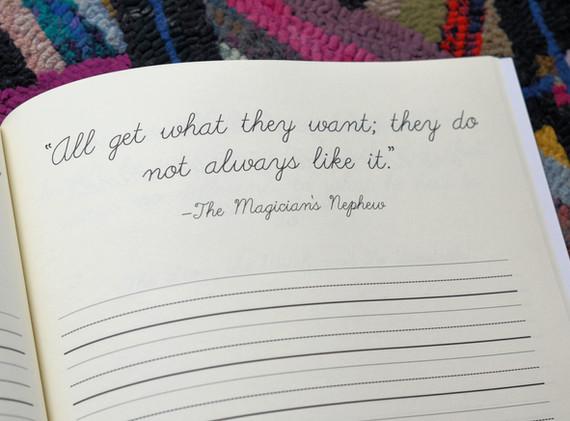 Narnia cursive quotes
