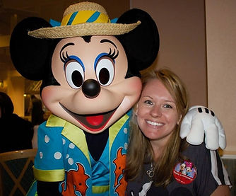 Minnie Mouse with a fan