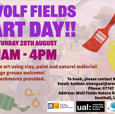 Day 1 of Southall Ever After: Art day at Wolf Fields Urban Nature Reserve: 28/08/2021