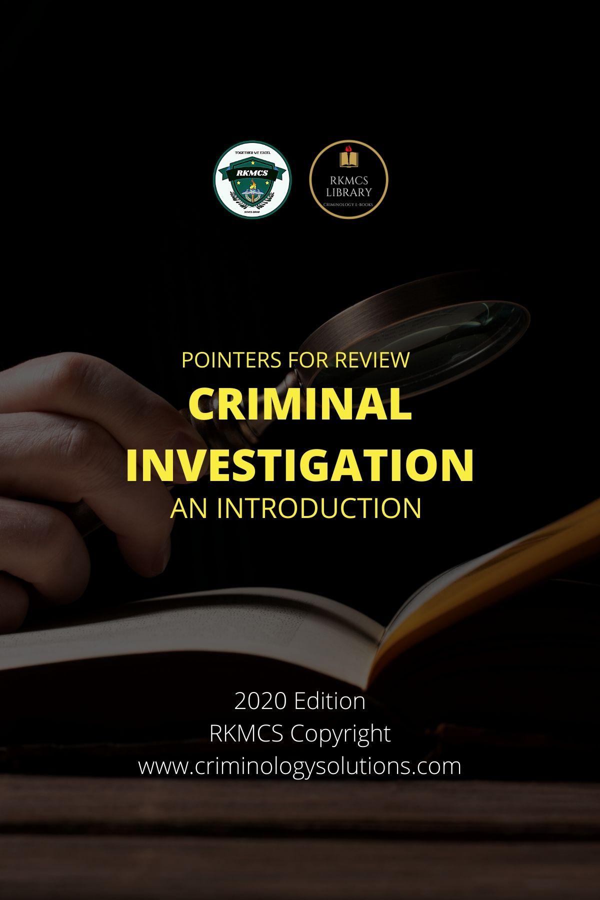 INTRO CRIMINAL INVEST