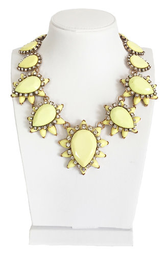 Yellow Flower Enamel Crystals Vintage Necklace