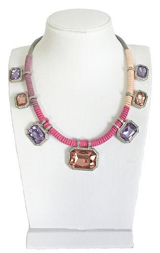 Pink and Violet Crystal Drops Vintage Necklace