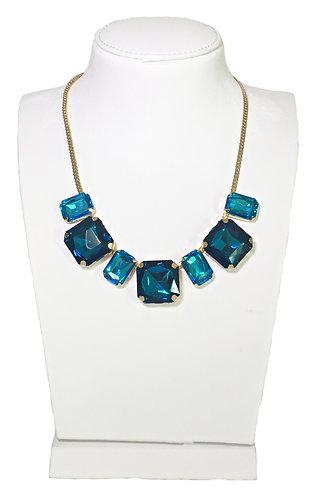 Blue Crystals Drop Necklace