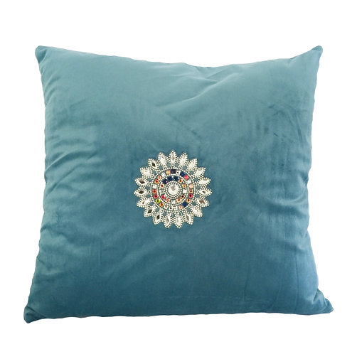 Luxury Light Blue Velvet with Crystals Cushion Pillow