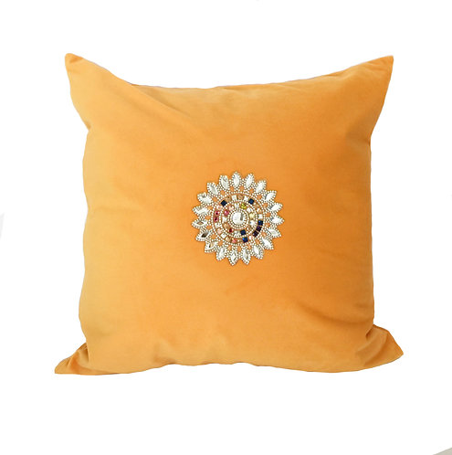 Luxury Yellow Velvet with Crystals Cushion Pillow