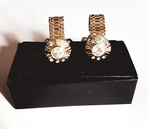 Luxury Golden Cufflinks Crystals with Gift Box