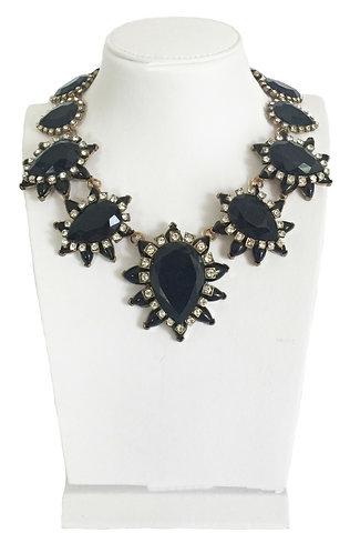 Black Enamel Crystals VintageNecklace