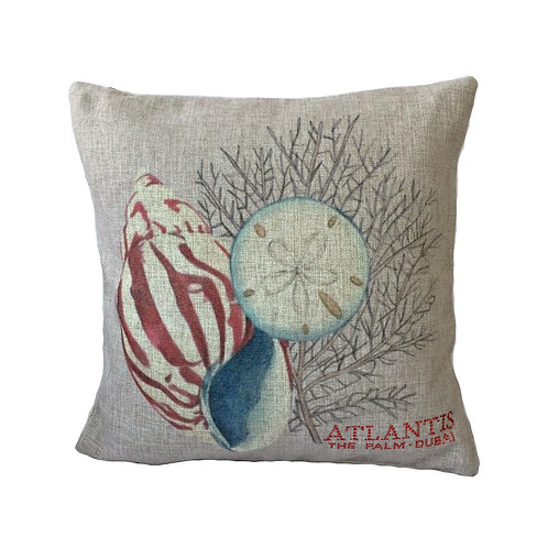 Fabric Seashell Design Throw Pillow Cover