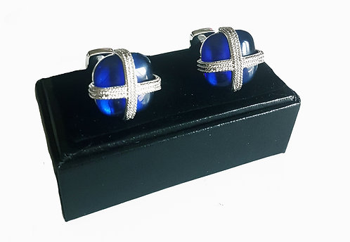 Cufflinks Blue Crystals with Gift Velvet Box