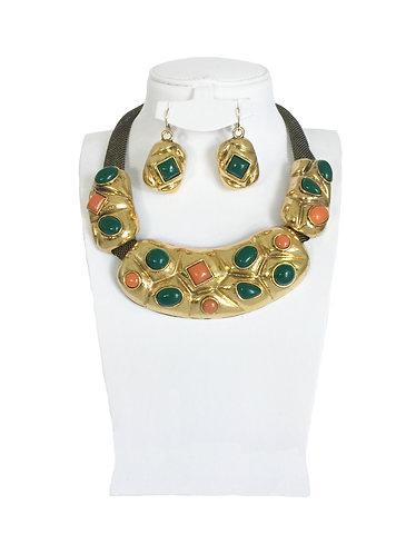 E New Enamel Crystals Brass Vintage Jewelry Set …