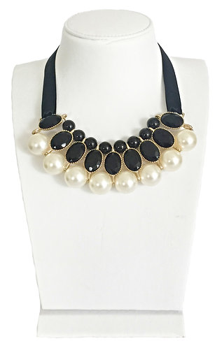 Black Enamel Crystals with Pearl Statement Necklace