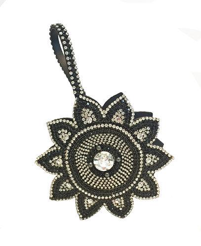 Luxury Black Flower Crystal Handbag