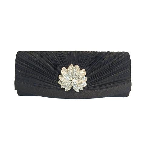 Elegant Black Evening Bag with Flower Crystal Pendant