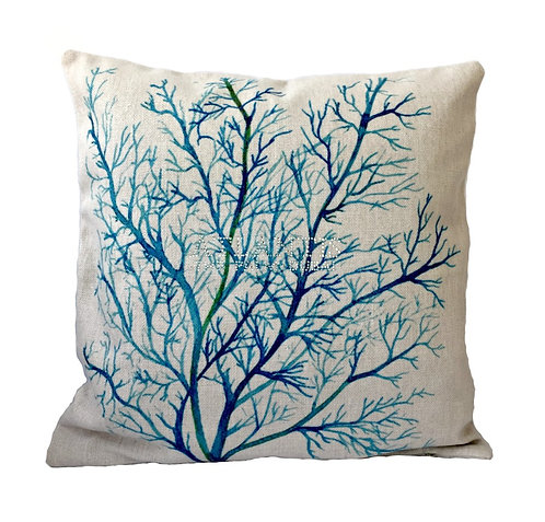 Blue Sea Coral Throw Pillow Cover