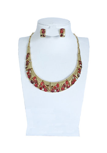 Gold Plated Red Crystal Rhinestone Drops Jewelry Set …