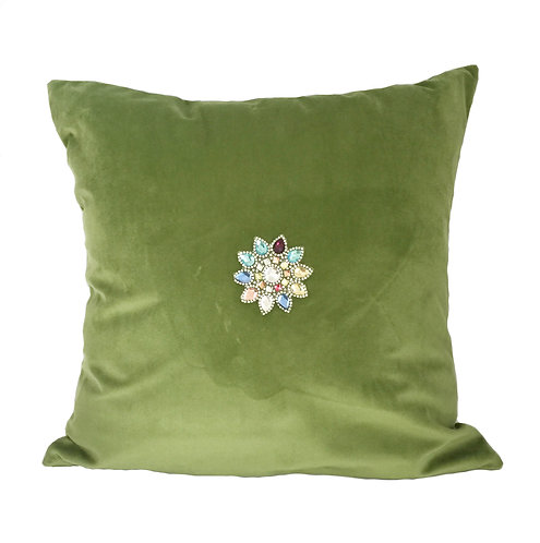 Luxury Green Velvet with Crystals Cushion Pillow