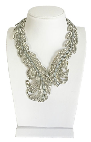 Luxury Silver Plated Feather Full Rhinestone Crystal Statement Necklace