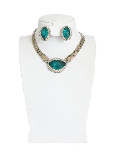 Elegant Blue Drop Crystal Jewelry Set …