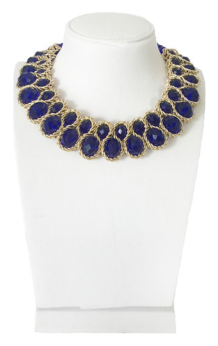 Trendy Blue Crystals Statement Necklace