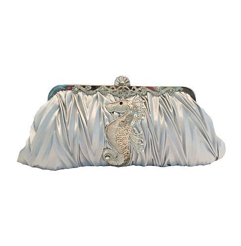 Elegant Gray Seahorse Sequins Evening Bag
