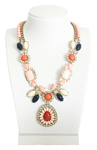 Vintage Enamel Crystals Statement Necklace