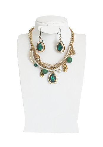 Vintage Multi-Layer Pearl Drop Crystals Jewelry Set …