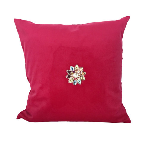 Luxury Red Velvet with Crystals Cushion Pillow