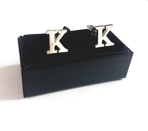 """Cufflinks Initial """"K"""" with Gift Velvet Box"""