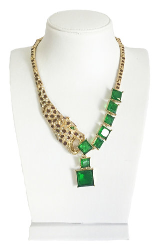 Luxury Leopard Green Crystals Vintage Necklace