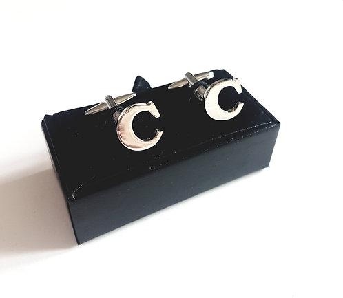 "Cufflinks Initial ""C"" with Gift Velvet Box"