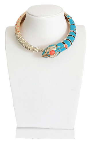Luxury Gold Plated Enamel Snake Collar Necklace