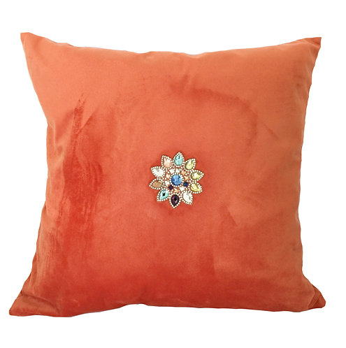 Luxury Orange Velvet with Crystals Cushion Pillow