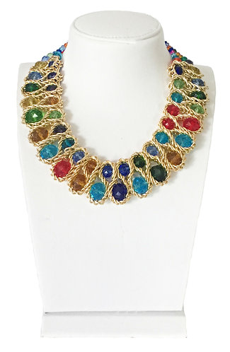Trendy Multi-color Crystals Vintage Necklace