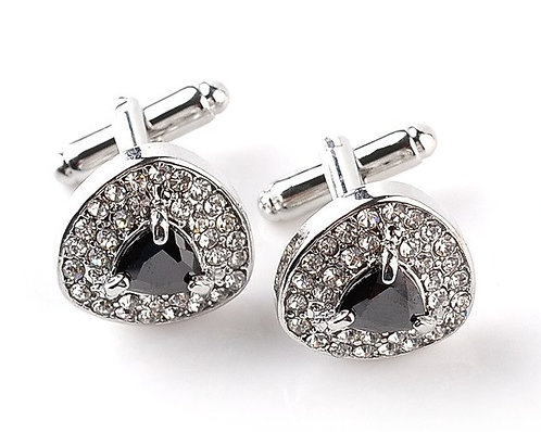 Imperial Black Crystal Cufflinks with Box