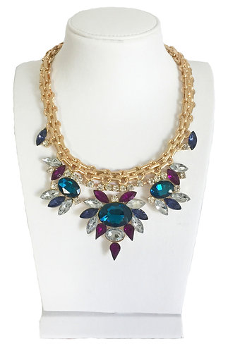 Multi-color Pendants Crystal Flowers Statement Chokers Necklace