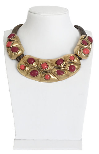 Gold Plated Vintage Drop Enamel Crystals Necklace
