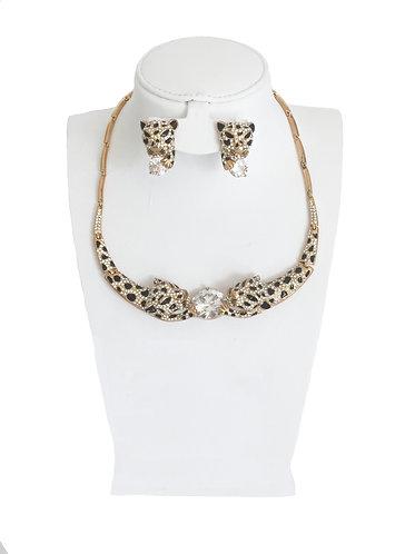 Luxury Drop Crystal Rhinestone Leopard Head Jewelry Set …