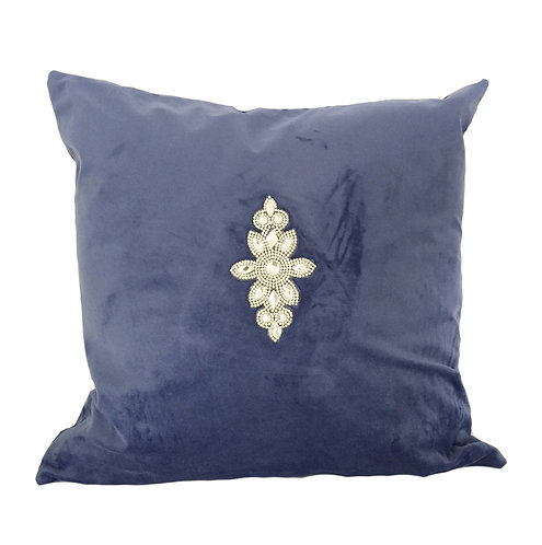 Luxury Blue Velvet with Crystals Cushion Pillow