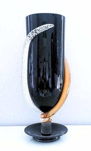 Imperial Murano Glass Vase Black Amber