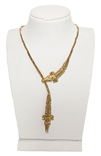 Vintage Gold Plated Crocodile Pendant Necklace