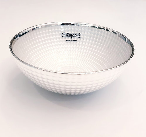 999 Pure Silver Bowl Snow White Glass