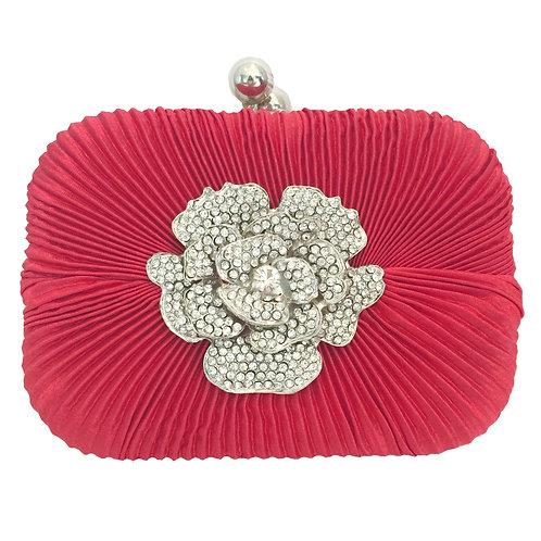 Red Elegant Crystal Flower Pendant Clutch Bag